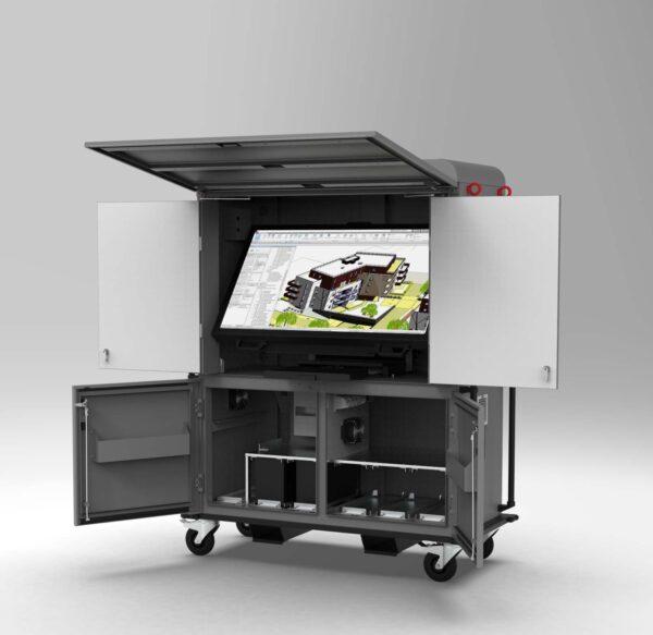 Armoire Tactile Modele B cabine BIM chantier écran tactile étanche