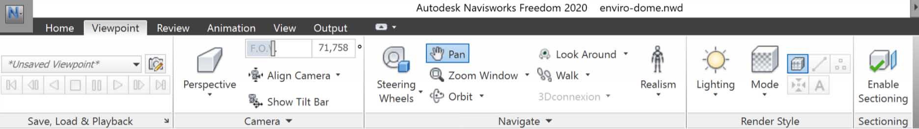 Autodesk Navisworks Freedom Menu
